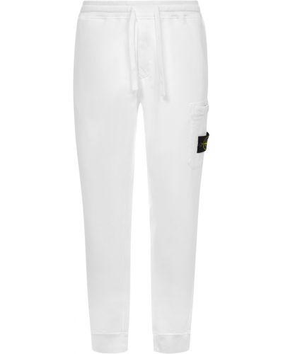 Prążkowane spodnie dresowe do biegania bawełniane Stone Island