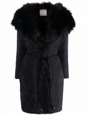 Черное пальто из искусственного меха Moncler