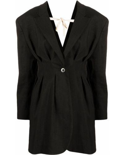 Шерстяной черный удлиненный пиджак на пуговицах Jacquemus