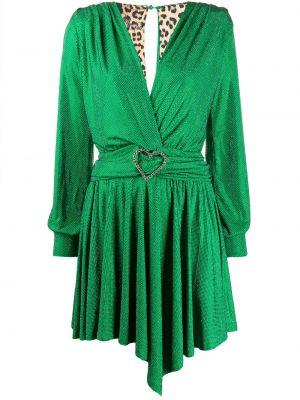 Зеленое платье макси с вырезом с подвесками Philipp Plein