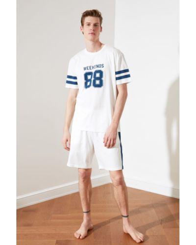 Biała piżama bawełniana z printem Trendyol