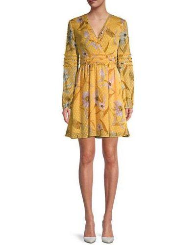 С рукавами желтое кружевное платье мини Ted Baker London