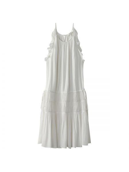 Белое тонкое платье мини на бретелях с оборками See U Soon