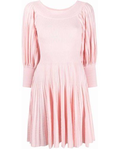 Prążkowana różowa sukienka mini z wiskozy Antonino Valenti
