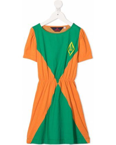 Zielona sukienka mini z falbanami krótki rękaw The Animals Observatory