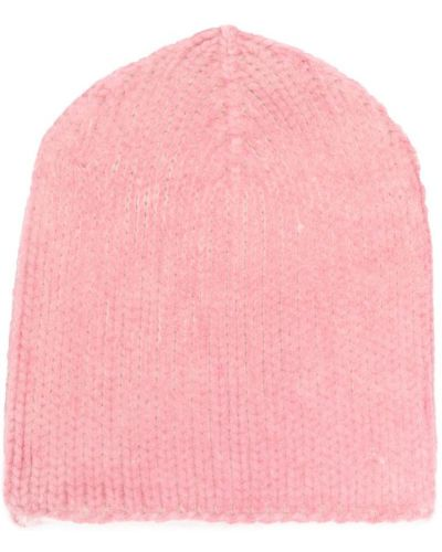Вязаная шапка розовый бини Warm-me