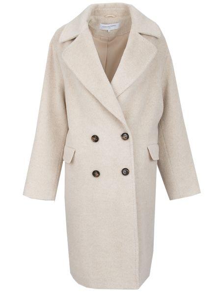 Бежевое пальто классическое с воротником из альпаки на пуговицах Gerard Darel