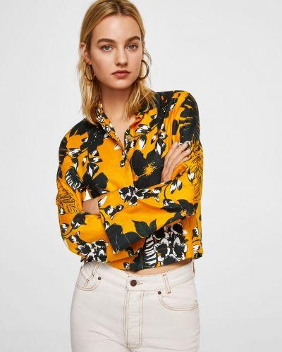Желтая блузка прямая Mango