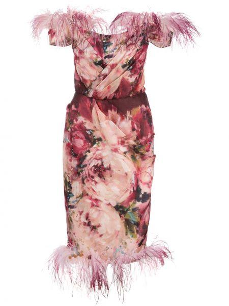 Шелковое розовое платье миди с перьями с открытыми плечами Marchesa