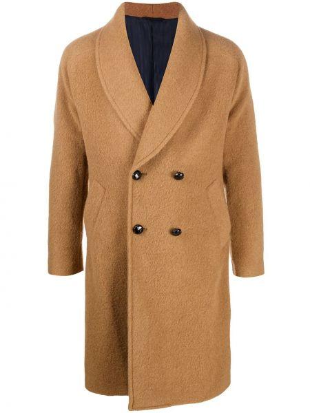 Beżowy płaszcz wełniany z długimi rękawami Mp Massimo Piombo