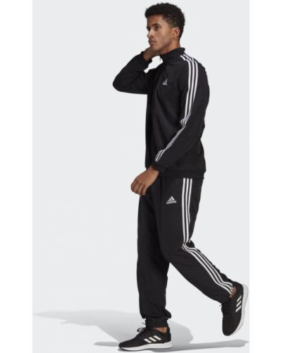 Костюмный черный спортивный костюм с нашивками Adidas