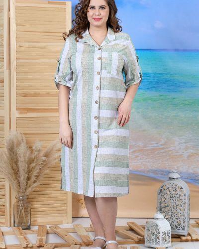 Льняное платье рубашка в полоску на пуговицах виотекс