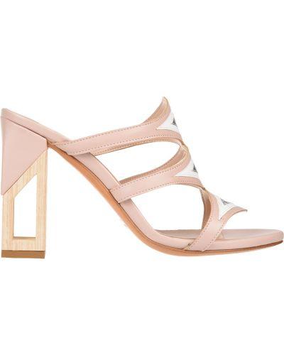 Мюли розовый на каблуке Albano