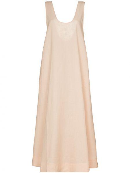 Różowa sukienka bez rękawów materiałowa Asceno