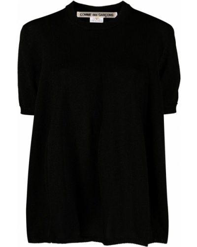Prążkowany czarny top krótki rękaw Comme Des Garcons