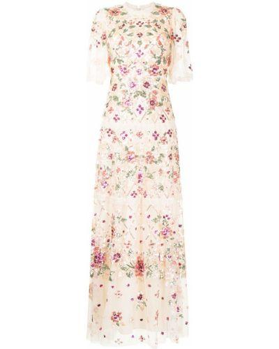 Розовое платье макси с вырезом с вышивкой Needle & Thread