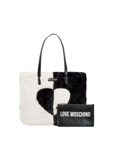 Włókienniczy czarny torba na zakupy z zamkiem błyskawicznym z futrem Love Moschino