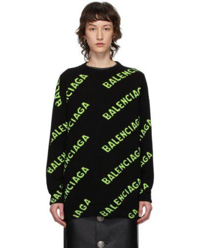 Wełniany czarny długi sweter z kołnierzem Balenciaga