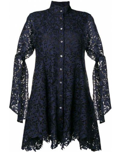 Платье с кружевными рукавами синее Osman