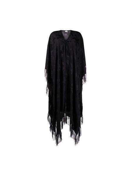 Czarny ponczo z długimi rękawami z frędzlami Saint Laurent