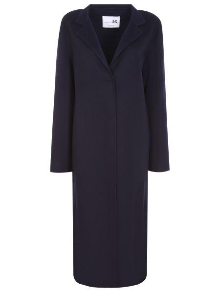 Синее шерстяное пальто классическое с воротником на кнопках Manzoni 24