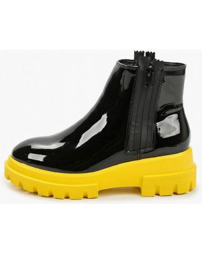 Лаковые кожаные черные ботинки Keddo