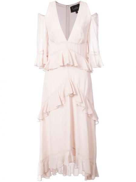 Шелковое платье - розовое Nicole Miller