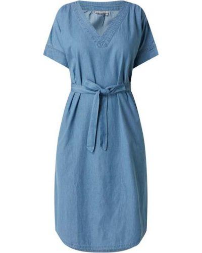 Niebieska sukienka mini rozkloszowana bawełniana Fransa