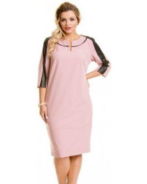 Кожаное платье с манжетами с вырезом с декоративной отделкой Novita