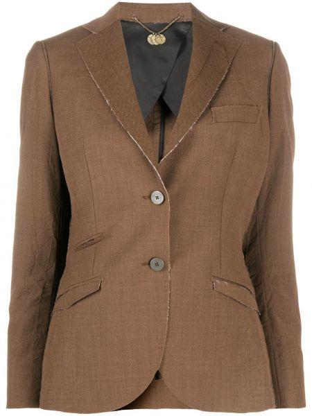 Приталенная коричневая куртка с манжетами на пуговицах Maurizio Miri