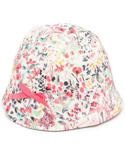 Różowy kapelusz bawełniany w kwiaty Bonpoint
