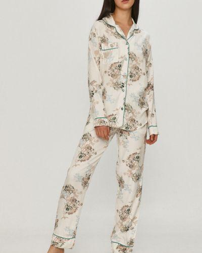 Biała piżama z długimi rękawami z wiskozy Answear Lab
