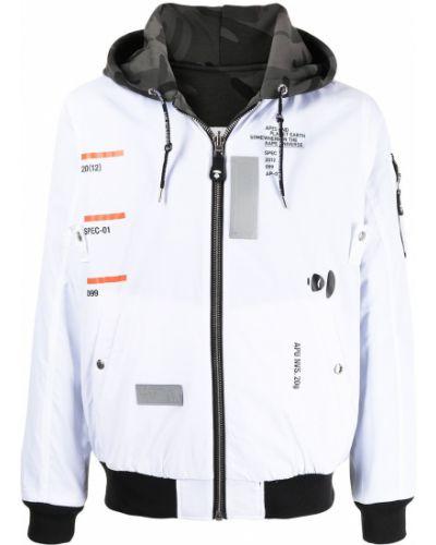 Белая куртка с капюшоном на молнии Aape By A Bathing Ape
