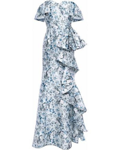 Niebieska sukienka z printem Badgley Mischka