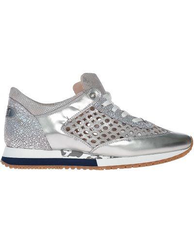 Кожаные кроссовки - серебряные Pertini