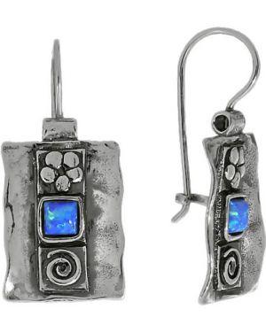 Серебряные серьги серебряный синий Den'o