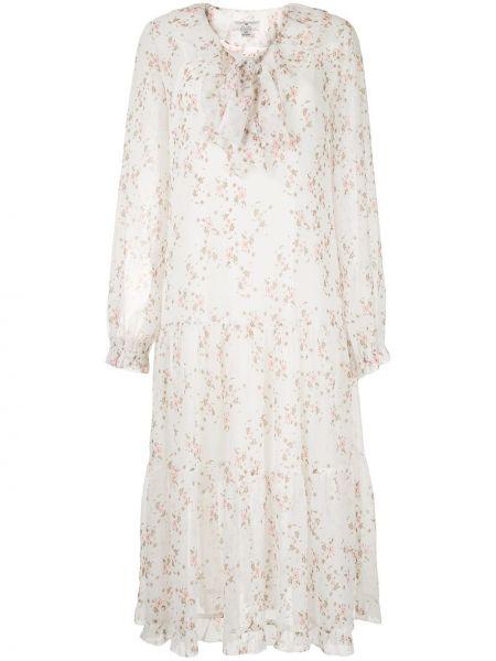 Белое расклешенное платье миди с вырезом круглое We Are Kindred