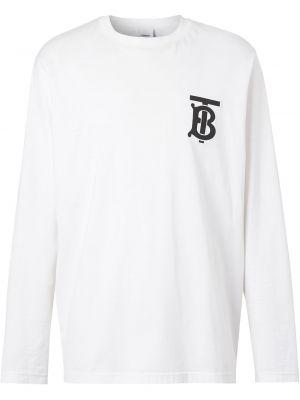 Bawełna biały koszula okrągły dekolt z długimi rękawami Burberry