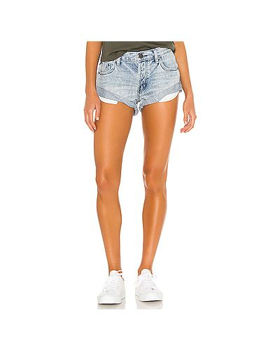 Рваные хлопковые джинсовые шорты на пуговицах с отворотом One Teaspoon