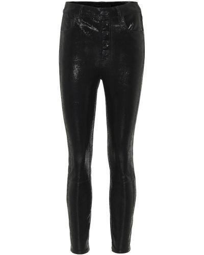 Кожаные черные брюки стрейч скинни J Brand
