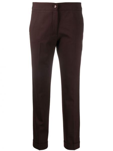 Шерстяные коричневые укороченные брюки на молнии Etro