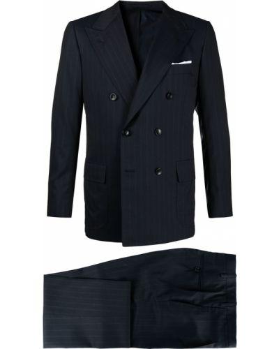 Синий кашемировый костюм классический двубортный Kiton