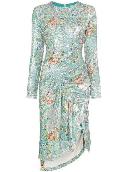 С рукавами платье миди с пайетками на молнии с вырезом Preen By Thornton Bregazzi
