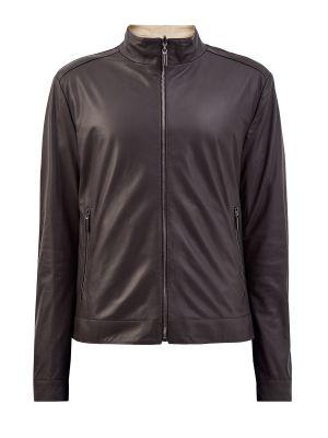 Нейлоновая коричневая кожаная куртка с воротником Moreschi