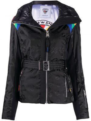 Пуховая черная длинная куртка с капюшоном Rossignol