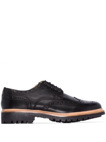 Кожаные черные броги на каблуке на шнуровке Grenson