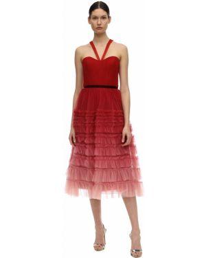 Красное платье миди из фатина на бретелях без рукавов Marchesa Notte