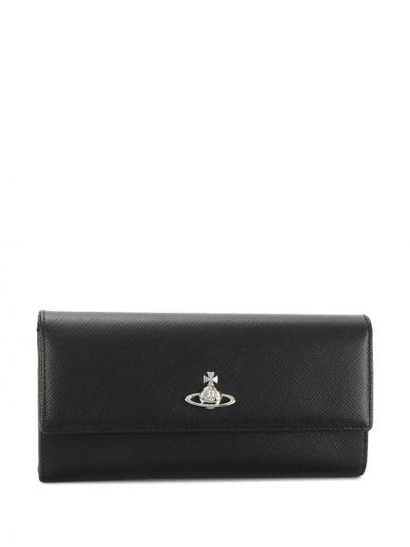 Кожаный кошелек черный с логотипом Vivienne Westwood
