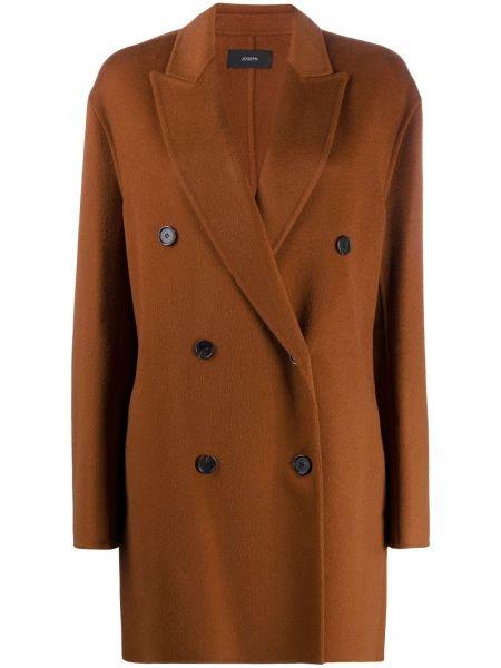 Коричневое кашемировое длинное пальто двубортное Joseph