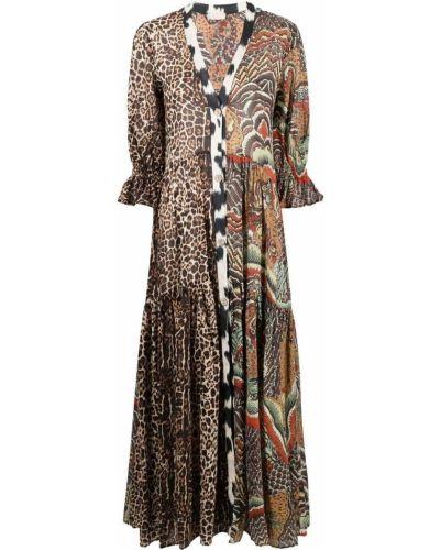 Хлопковое коричневое платье макси с вырезом Anjuna